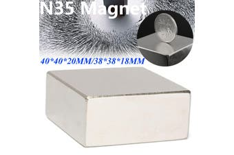 Super Strong Block Neodymium Magnets Disc Rare-Earth Fridge 40x40x20mm N52 A(38x38x18mm)