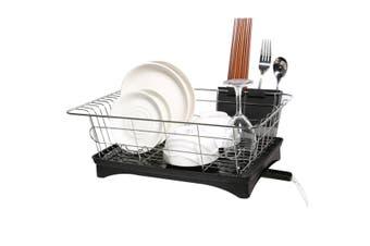 Kitchen Dish Rack Plates Bowl Drying Organizer Holder Drainer Stainless Steel(black,Type2)