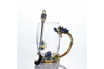 Enamel Glass Rose Flower Tea Cup Set Spoon Coffee Cup Beer Mug Kit Wedding Gift