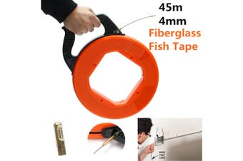 Wire Cable Fiberglass Fish Tape Reel Conduit Ducting Rodder Pulling Puller # 45M