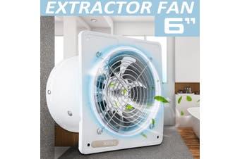 6 Inch 2600RPM Silent Extractor Fan Wall Extractor Ventilation Fan Bathroom Kitchen Toilet 220V 40W 1100m3/H - Black