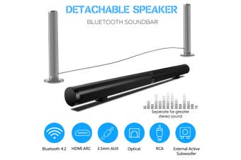 Detachable 50W Wireless Bluetooth Soundbar Stereo Speaker USB TV Home Theater