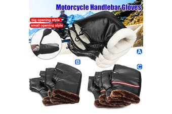 Universal Warm Motorcycle Motorbike Scooter Handle Bar Grip Muffs Gloves Winter Protection(small opening style Black)