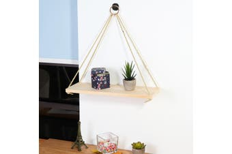 Rustic Solid Wood Rope Hanging Wall Shelf Vintage Storage Floating Shelf Home(wood,L 1 Layer)