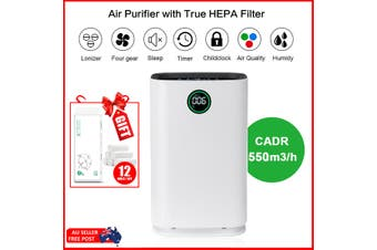 AUGIENB Humidifier HEPA Air Purifier 550m3/h Remove Smoke Odor+Wood Roll