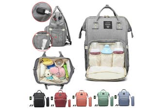 LEQUEEN Large Capacity Mummy Maternity Nappy Bag Multifunctional Diaper Waterproof Travel with Insulation Bag USB Port