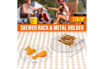 7/8/9inch Double Layer Rack with Skewers And Metal Holder for Air Fryer