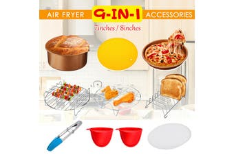 8inch 9PCS Air Fryer Accessories Airfryer Chips Baking Pan Set For 3.2-6.8QT