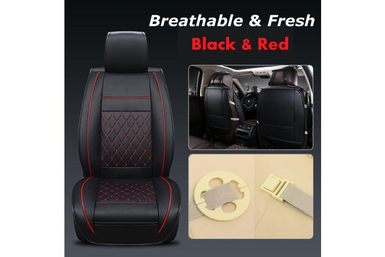 Universal Car Auto Seat Cushion Cover Pad Mat Protector Four Seasons PU Leather(redblack,1PCS)