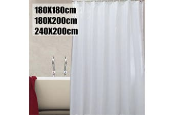 Plain White Fabric Shower Curtain with hook rings hangers #180*200cm(180X200cm)