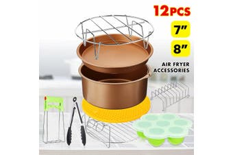 8Inch Air Fryer Accessories Chips Baking 12Pcs Set Cake Pizza Pan Skewer Rack