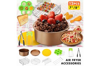 7Inch Air Fryer Accessories Chips Baking 12Pcs Set Cake Pizza Pan Skewer Rack