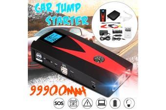 AU Plug 99900mAh 2 USB Car Jump Starter Pack Booster Charger Battery Power LED 12V