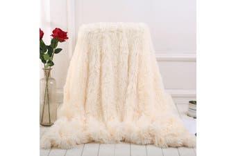 130x160cm Shaggy Blanket Large Soft Warm Fur Shaggy Fluffy Throw Plush Blanket Sofa Bed Blanket(white,160x130cm)