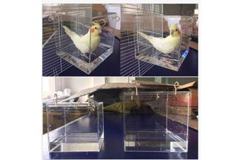 Spacious Acrylic Bath House Bird Cage Bird Bath for Cockatiels Parrots Parakeets #Big