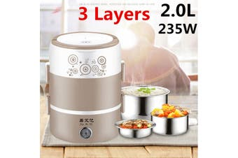 Electric Lunch Box 2L 3 Layers Electric Rice Cooker Heating Lunch Box Food Warmer Heater Container(pink)