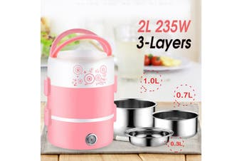 220V 2L 3-Layers Lunch Box Rice Cooker Portable Food Steamer Container