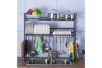 2-Tier Stainless Steel Over Sink Dish Drying Rack Kitchen Cutlery