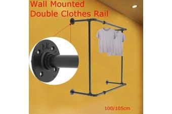 100cm Vintage industrial wind pipes vintage wall-mounted double coat hangers distance between 90 cm