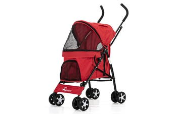 Pet Stroller Dog Cat Puppy Jogger Pushchair Travel Carrier Pram Buggy Wheels Red