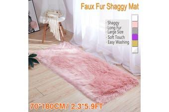 "2.3""x5.9"" Home Large Faux Fur Carpet Sheepskin Rug Fluffy Mat Room Sofa Bed Hairy Shaggy Floor Mat(pink,typeB 70X180cm pink)"