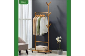 Wooden Single Bar Heavy Duty Clothes Rolling Garment Coat Rack Hanger Holder Household Racks
