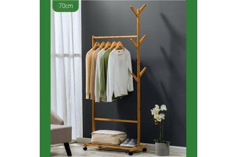 Wooden Single Bar Heavy Duty Clothes Rolling Garment Coat Rack Hanger Holder Household Racks(70cm)