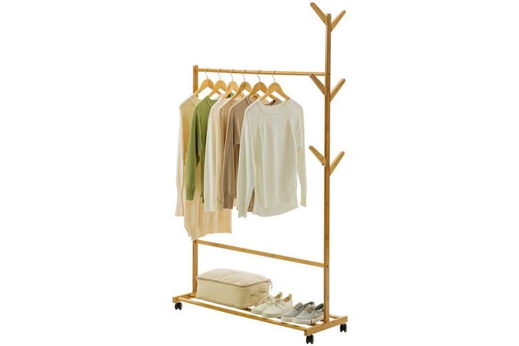 Wooden Single Bar Heavy Duty Clothes Rolling Garment Coat Rack Hanger Holder Household Racks(70cm)