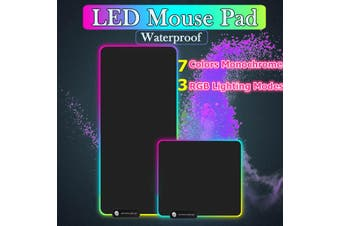 US Large LED Colorful RGB Lighting Gaming Mouse Pad Keypad Mat For PC (black,A 11.81x9.84Inch)