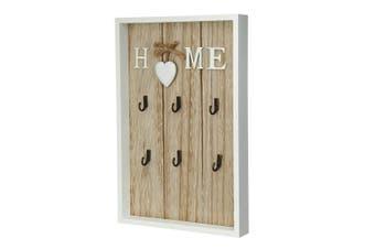 6 Hooks Key Rack Holder Wooden Wall Mount Organizer Key chain Hanger Home Storage