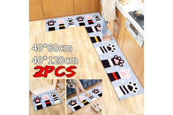 2X HOME KITCHEN FLOOR MAT NON SLIP RUNNER ANTI FATIGUE RUGS SET DOOR DECORATION