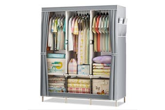 Single Fabric Canvas Wardrobe Clothes Storage Organiser Cabinet Cupboard Shelves