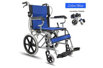 16 inch Manual Wheel Foldable Wheelchair Solid Mobility Aid Brakes Light Weight Blue