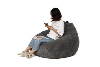 Large Bean Bag Chairs Couch Corduroy Sofa Cover Indoor Lazy Lounger For Adults(grey,ONLY COVER)
