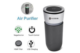 AUGIENB 2 in 1 12V Car Air Purifier Ionizer Sm0ke Remover USB Charger 1000000pcs/m3 Anion Density