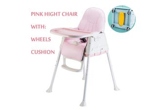 Adjustable Baby Comfortable High Chair Safe Feeding Highchair For Kids/Toddler(Pink)
