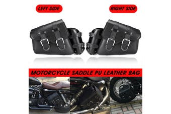 Pair Universal Motorcycle Saddle Bag PU Leather Waterproof Black For Harley Davidson Left + Right(left and right)