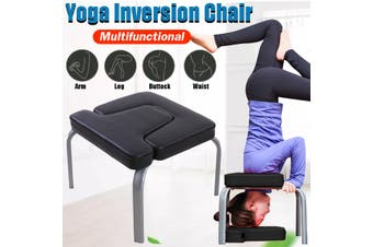 Black Inverted Yoga Inversion Exercise Fitness Stool Headstand Chair PU Pads Gym Home