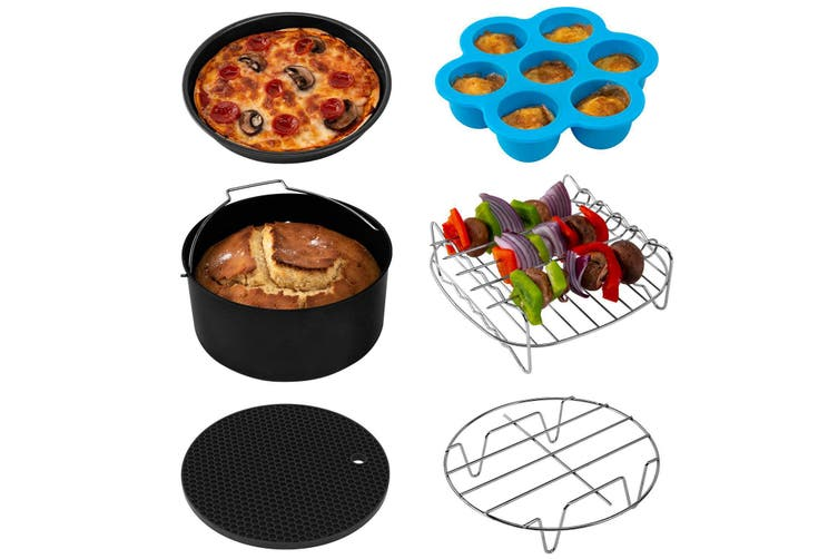 7'' 6Pcs Air Fryer Accessories Set Baking BBQ Pizza Pan Mold for 3.2-6.8QT(black,7Inch 6IN1 Set)