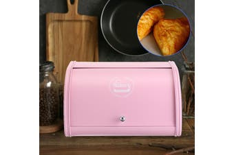 30x27x17.8cm Baking Cafe Bread Box Storage Bin Keeper Food Kitchen Iron Container(pink)