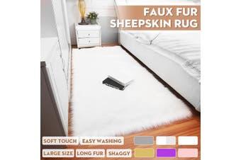 Soft Fur Carpet Mat Faux Wool Sheepskin Rugs Fluffy Plush Rug Floor Carpet Home Living Room Bedroom Rug(White)