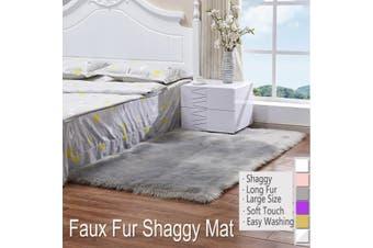Soft Fur Carpet Mat Faux Wool Sheepskin Rugs Fluffy Plush Rug Floor Carpet Home Living Room Bedroom Rug(Grey)
