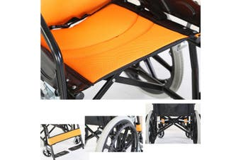 20'' Solid wheel Folding Armrest Wheelchair Manual Mobility Aid Brake Lightweight Yellow