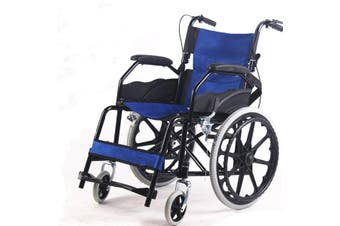 20'' Solid wheel Folding Armrest Wheelchair Manual Mobility Aid Brake Lightweight Blue