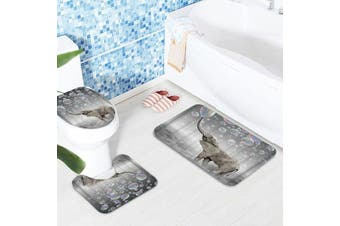 Lovely Bubbles Elephant Waterproof Shower Curtains Set Non-Slip Carpets Bath Curtains Mat for Bathroom Decor