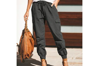 NEW Ladies Loose Casual Pants Solid Color Cargo Trousers S-5XL