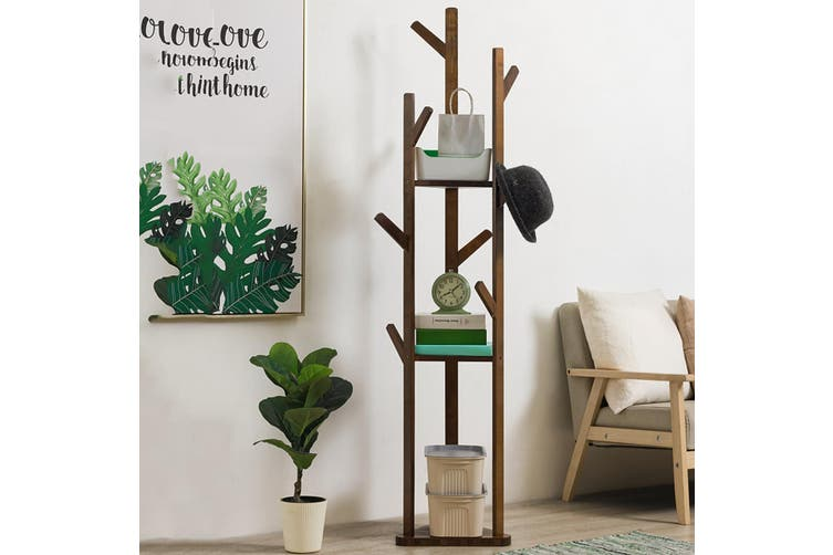 3 Layer 8 Hooks Shelf Clothes Coat Hat Rack Tree Stand Bamboo Hanger