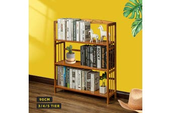 Bookcase Rack Bookshelf Bamboo Storage Shelf Stand Display Organizer (3 Tiers)