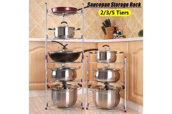 2/3/5 Tiers Saucepan Frying Pan Pot Storage Rack Shelf Stand Kitchen Organizer