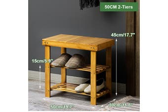 Home Decor Bamboo Bench Storage Seat Organizer Shelf Shoe Rack Entryway Hallway